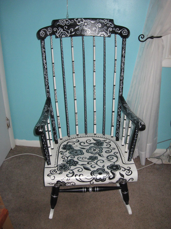 Retro Reclaimed Painted Rocking Chair. 150.00, via Etsy