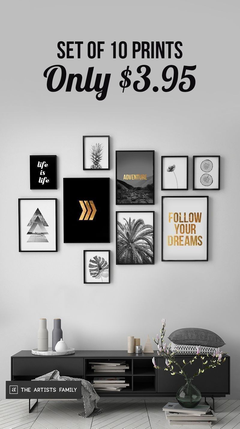 Flower art print modern minimalist black and white wall art