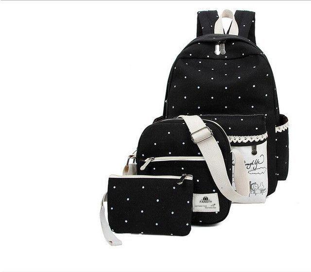2016 New Fashion Canvas women Backpack Female Spot Printing Students Bag  for Teenagers Girls Rucksack 3 pcs School Bag set 82588dabbb04e
