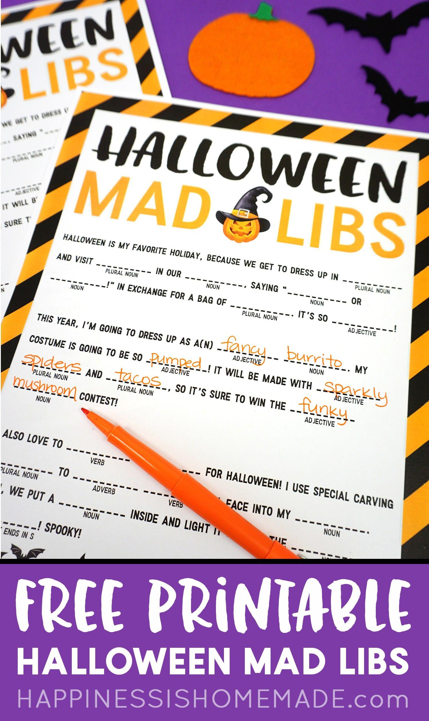 Free Halloween Mad Libs Printable Kids This Fun Free