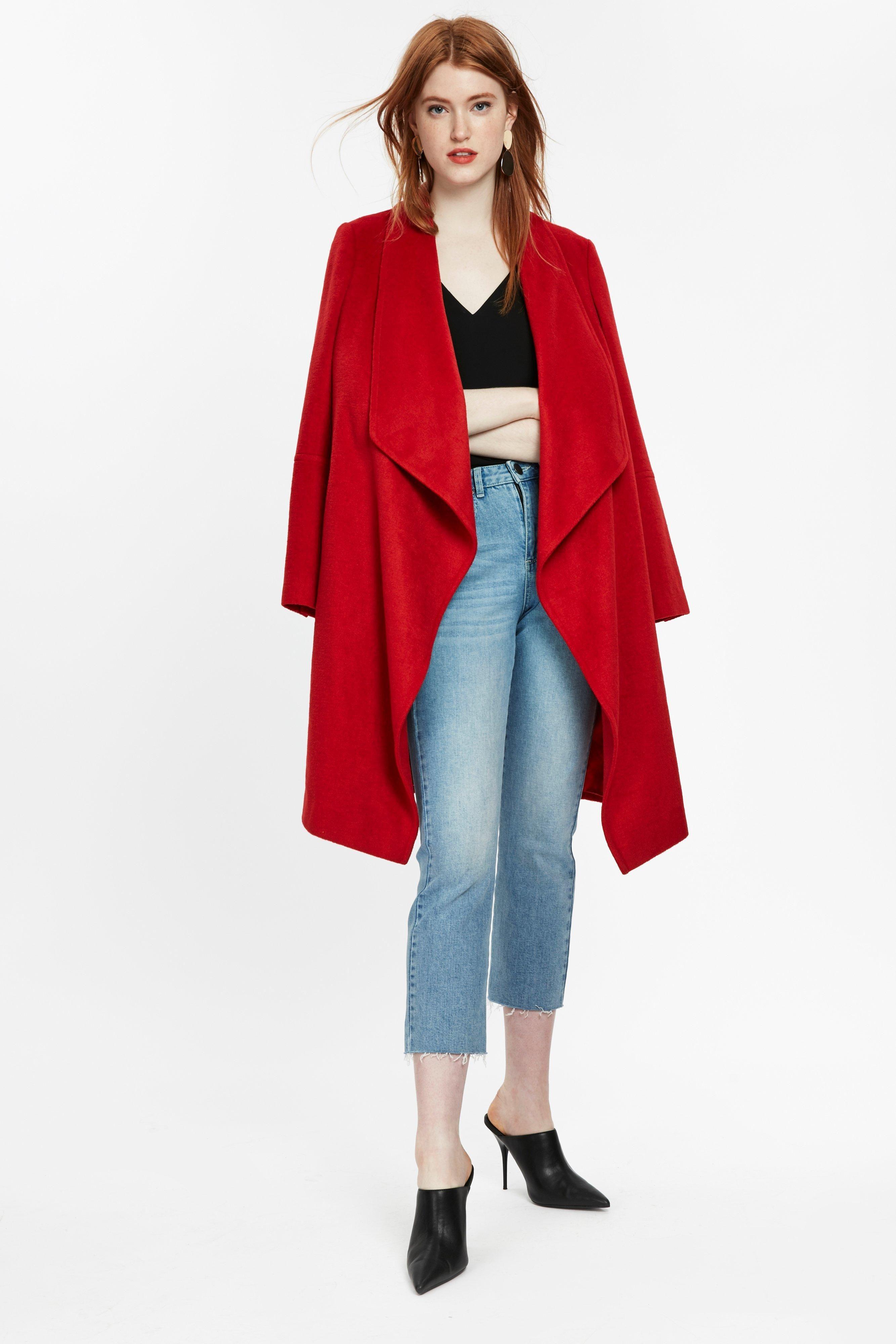 Red Stud Pocket Waterfall Coat | Coat, Waterfall coat, Red ...