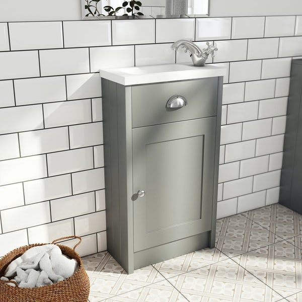 The Bath Co. Dulwich stone grey cloakroom floorstanding vanity and basin 460mm
