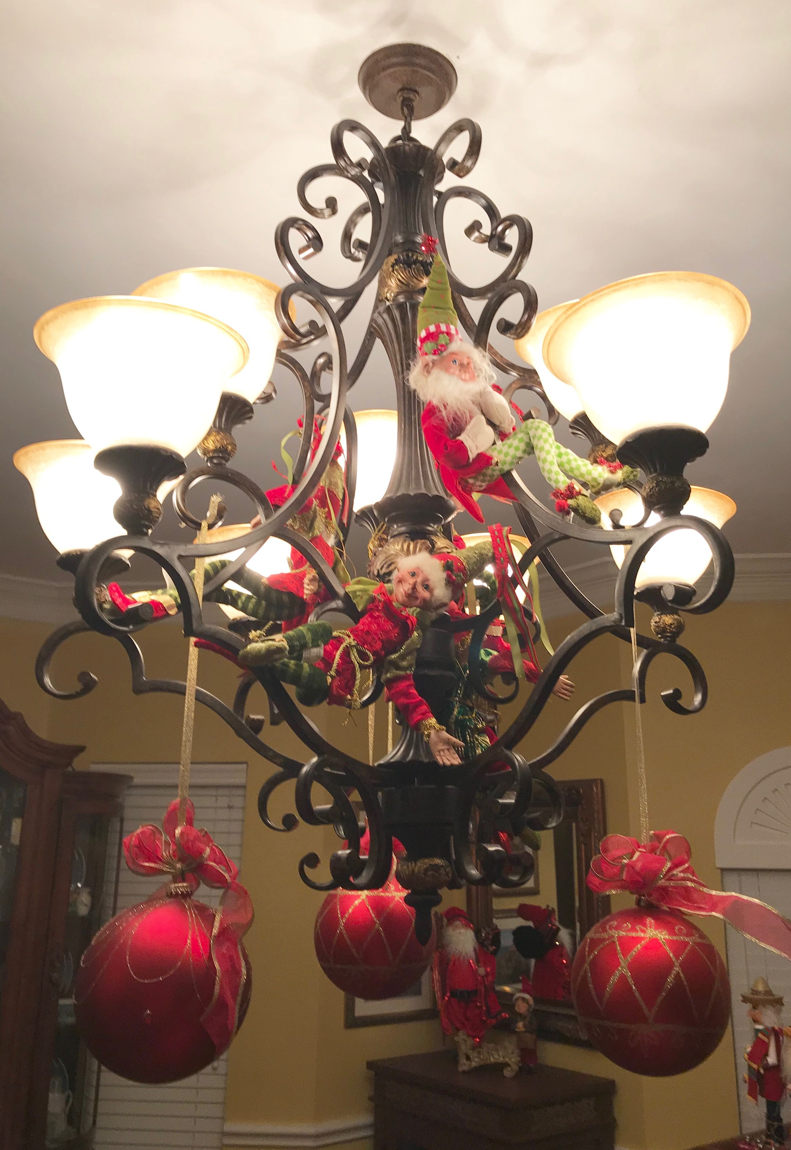 The Formal Dining Room Light Fixture Complete With Elves Just Hanging Around