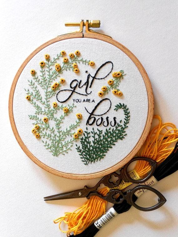Floral Embroidery Girl You Are A Boss Inspirational Quote Wall Art