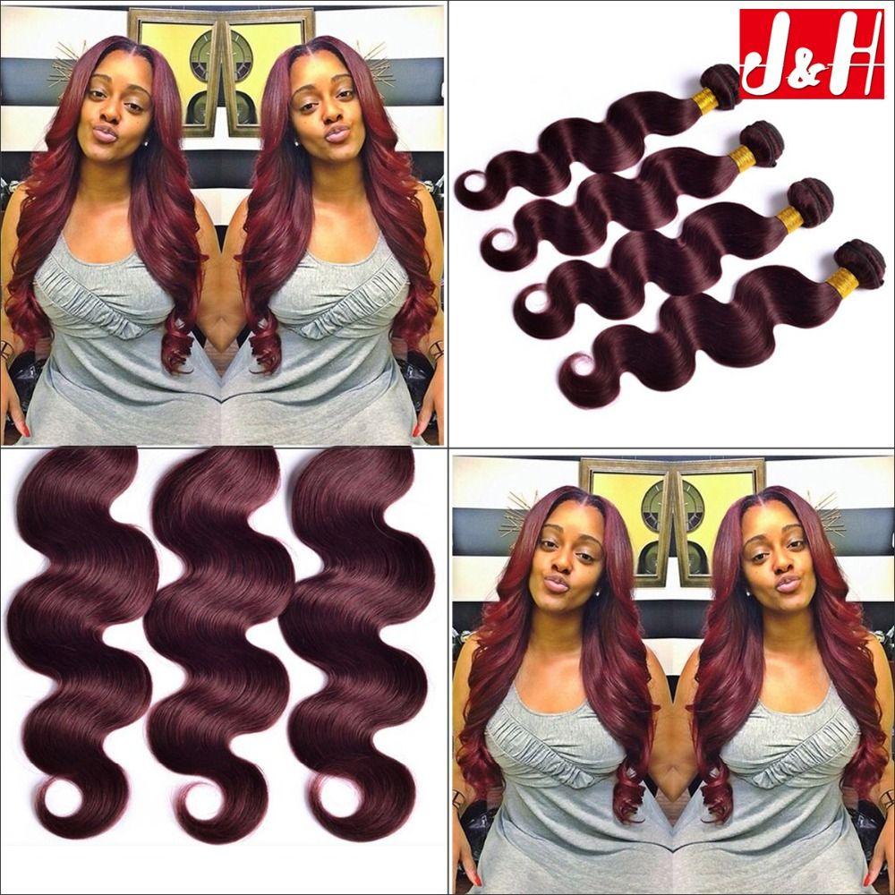 Online Shop Burgundy Hair Weaves Body Wave Brazilian 99j Human Hair