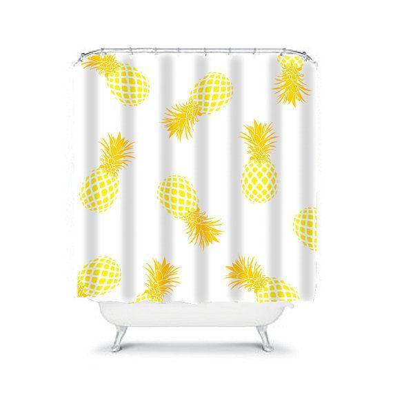 Yellow shower curtain pineapple shower curtain yellow bathroom ...