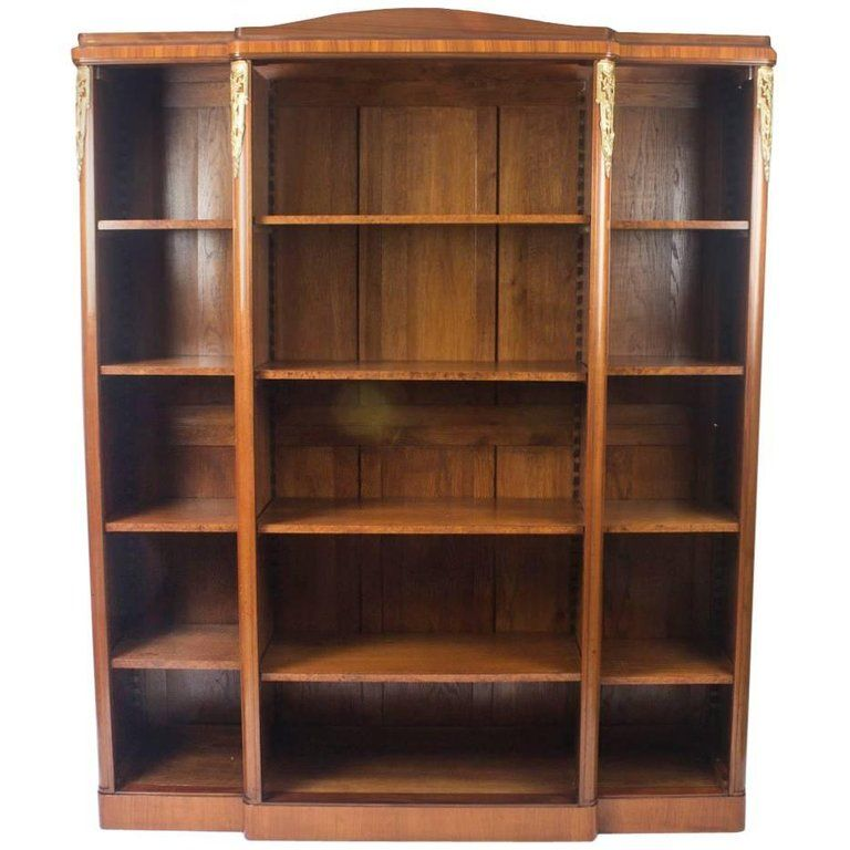 Antique French Mahogany Ormolu-Mounted Breakfront Open Bookcase