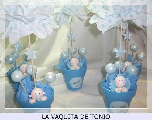 centros de mesa para bautismo de varon sencillos - Buscar con ...