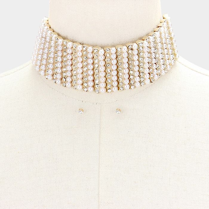 """14"""" gold crystal faux pearl choker collar necklace .20"""" earrings 1.75"""" wide bridal prom"""