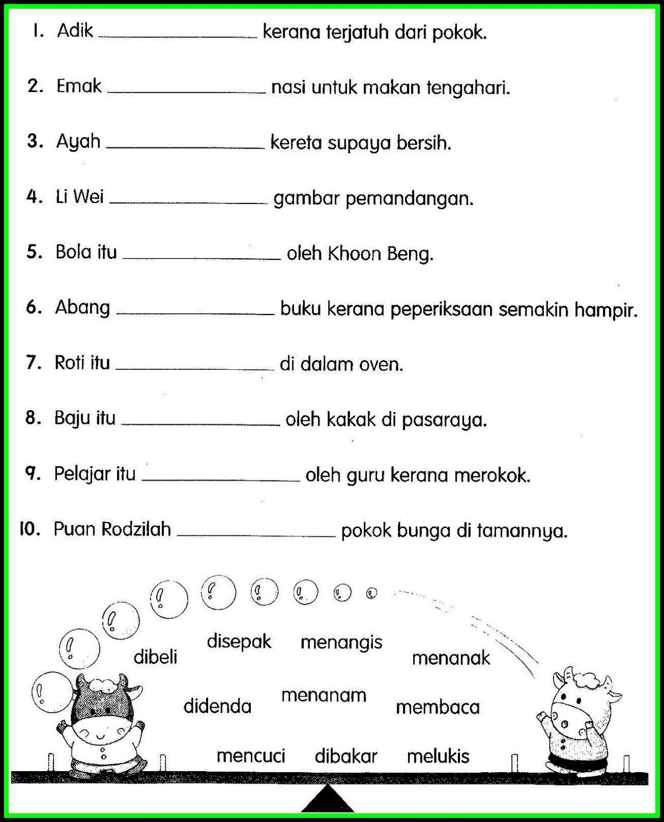 Image Result For Soalan Penulisan Bahasa Melayu Tahun 1 Malay Language Elementary Learning Preschool Writing