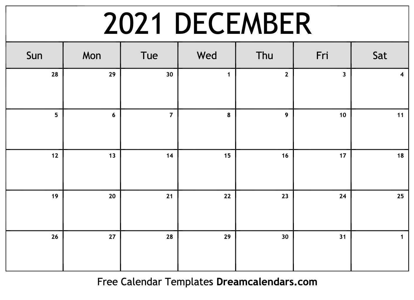 December 2021 Calendar. View the free printable monthly December