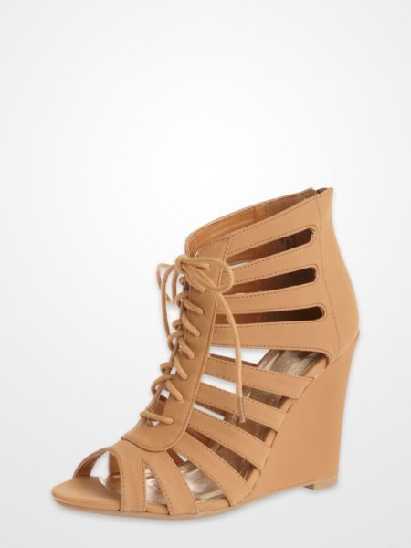 7dd2cf94c7c7 Bamboo Tan Caged Lace Up Wedges  gladiator  sandals