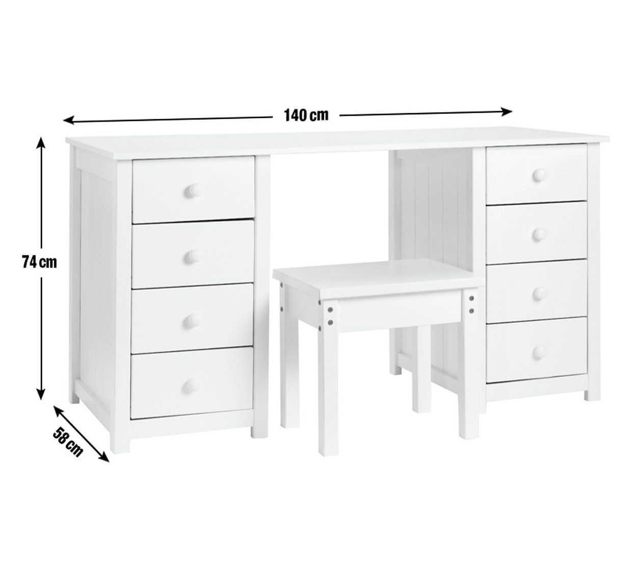 Argos Small White Table And Chairs: Buy Argos Home Scandinavia 8 Drw Dressing Table And Stool