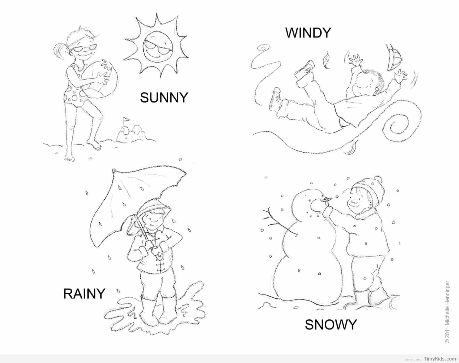 Timykids Weather Colouring Sheet