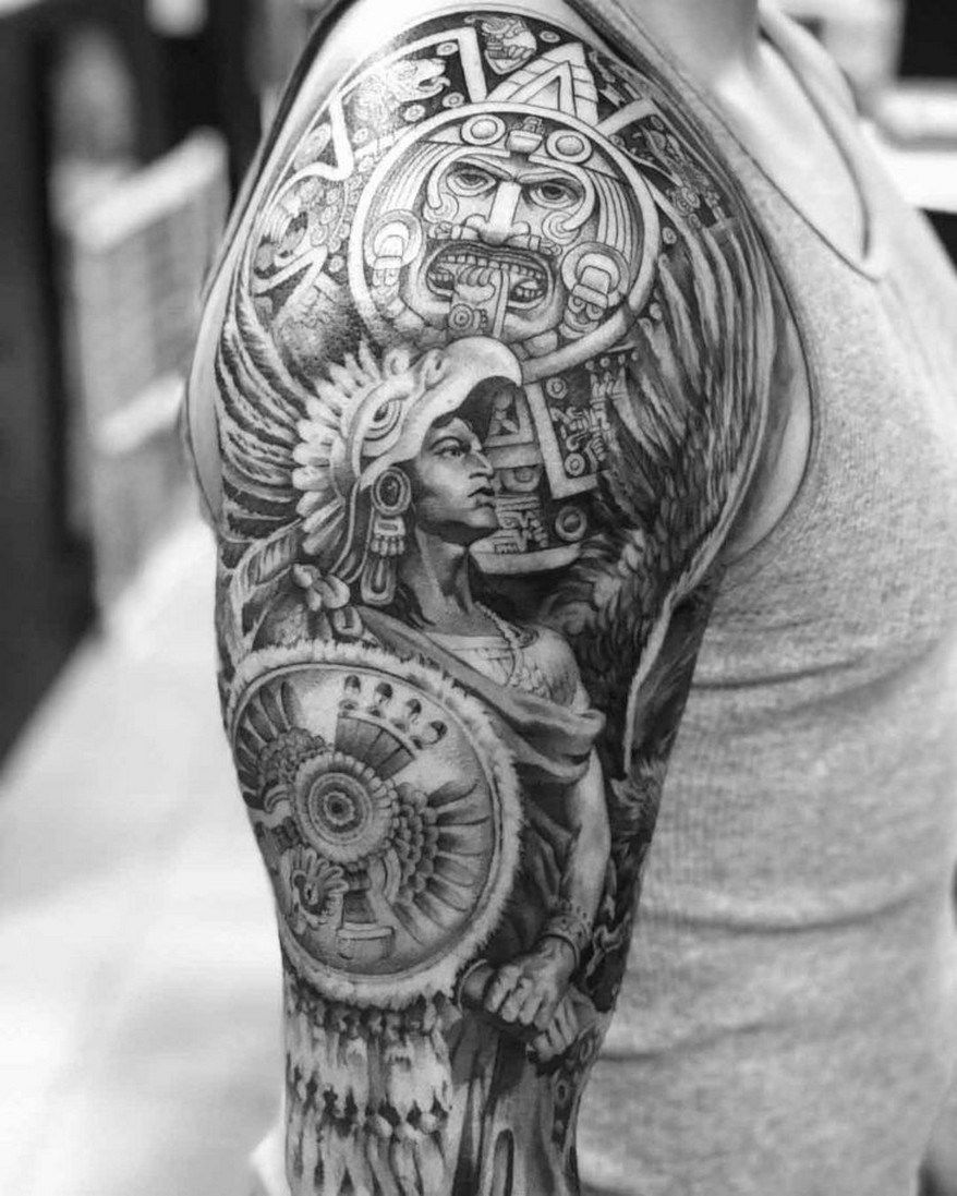 Thinking About A Tattoo Try A Fake Tattoo Sleeve With Images Aztec Tattoo Aztec Tattoos Sleeve Aztec Tattoo Designs