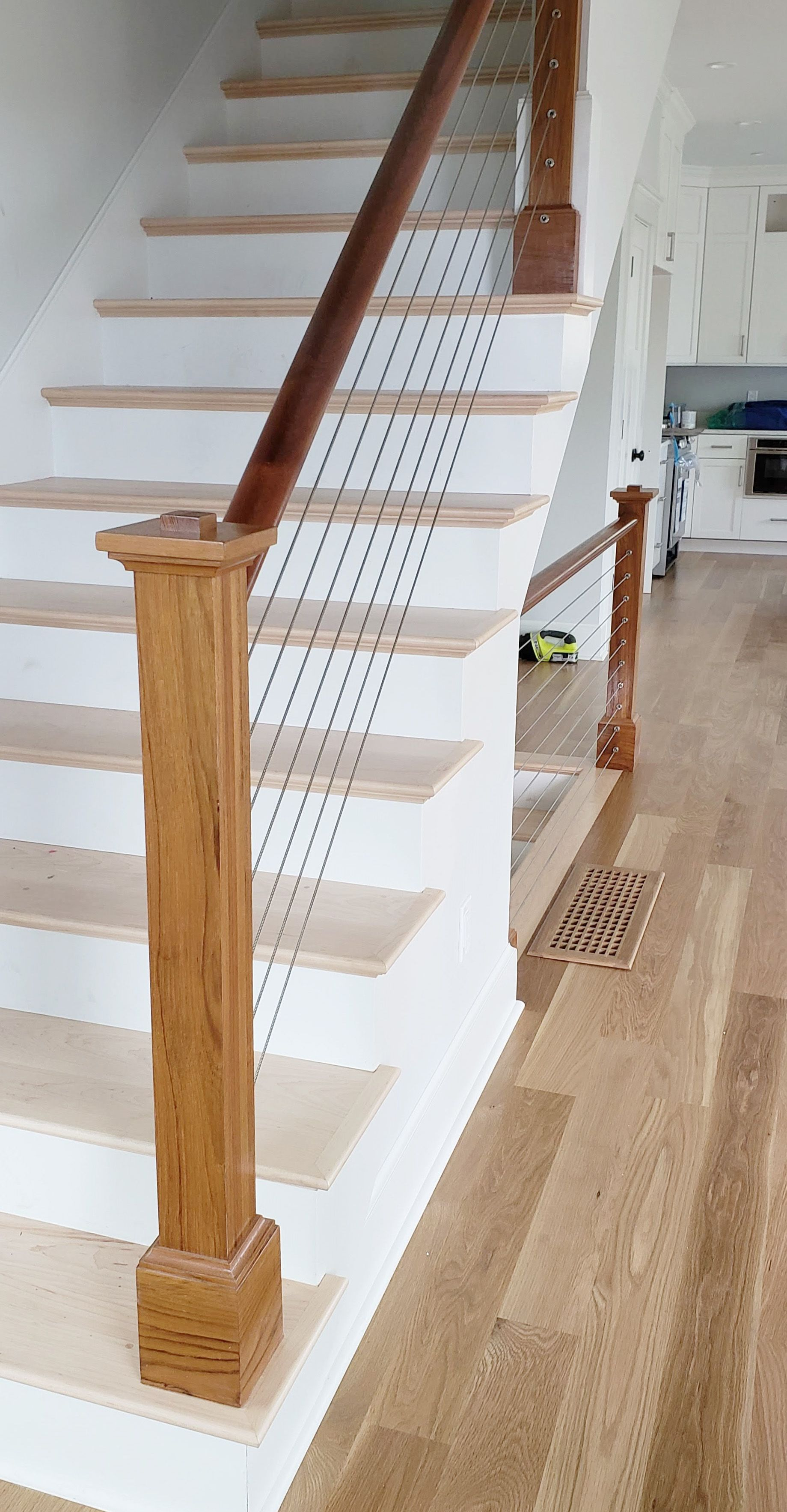 Cable Wire Staircase Cable Wire Railings Wood And Metal Staircase Custom Staircase Staircase Ideas Cable Stair Railing Indoor Railing Luxury Staircase
