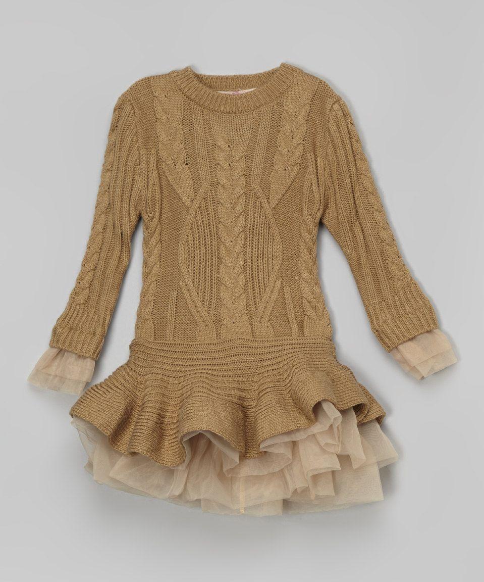 Love this Paulinie Camel Ruffle Sweater Tunic - Toddler & Girls by Paulinie on #zulily! #zulilyfinds