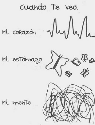 Amor es When I see you, my heart beats fast, my stomach has butterflies and my mind gets distracted I love you!