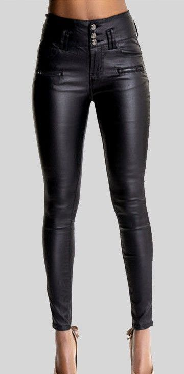 e925b3a3c8 Strench Plus Size faux Leather Pants Skinny High Waist women ...