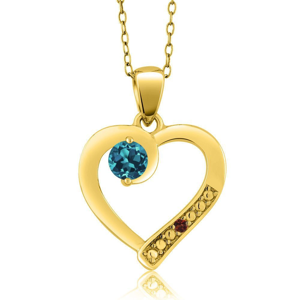 London Blue Topaz Red Garnet K Yellow Gold Plated Silver Pendant