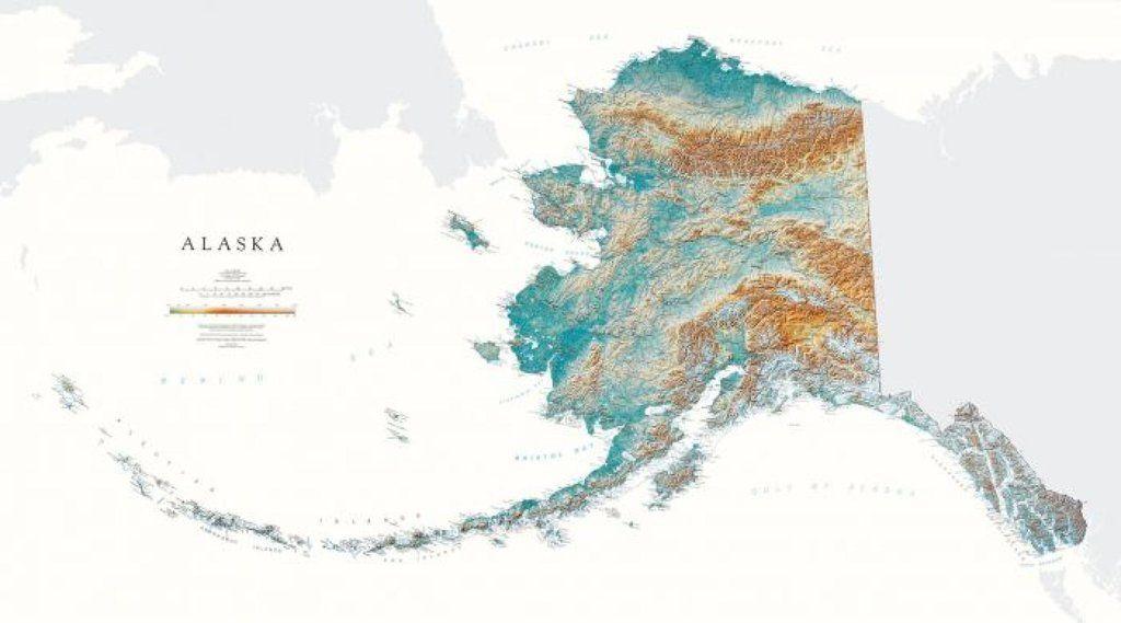 Alaska, Physical, Laminated Wall Map by Raven Maps   Hohn ...
