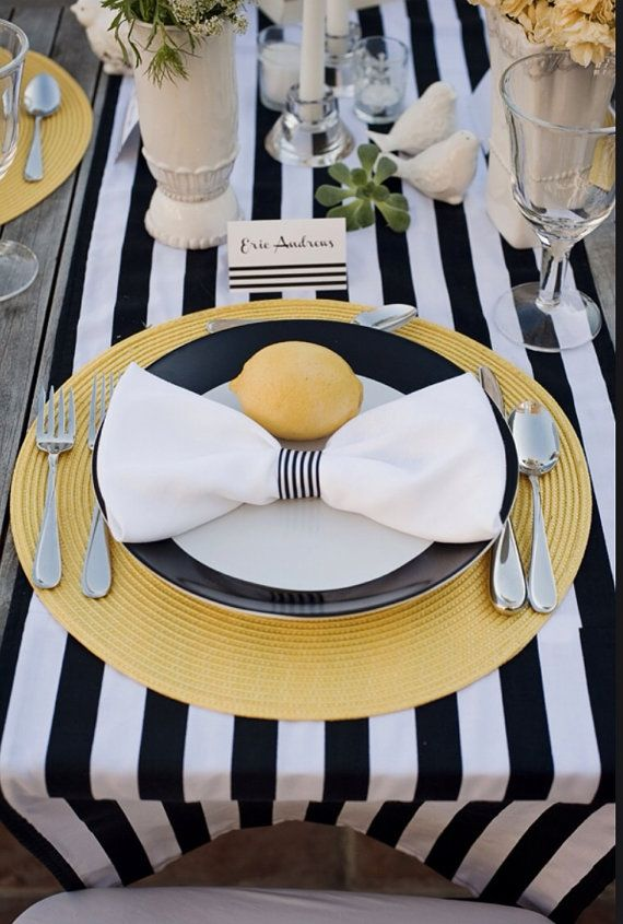 Black White Stripe Satin Monochrome Table Runner Wedding Event Decor Minimalist
