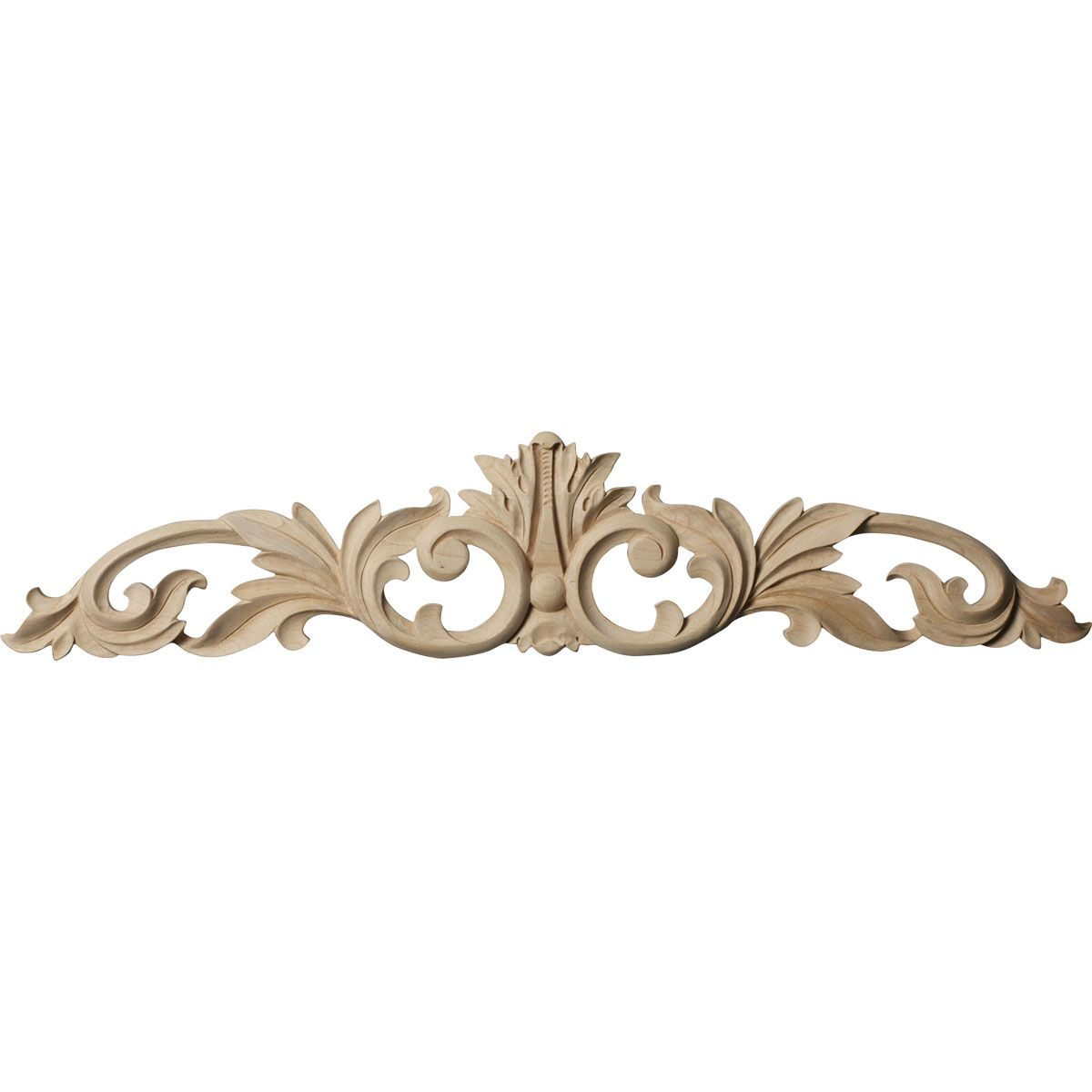 24 3 4 W X 5 1 8 H X 3 4 D Medium Green Leaf Center With Scrolls For Unfinished Dresser To Fancy It Up A Bit Wood Appliques Moldings And Trim Ekena Millwork