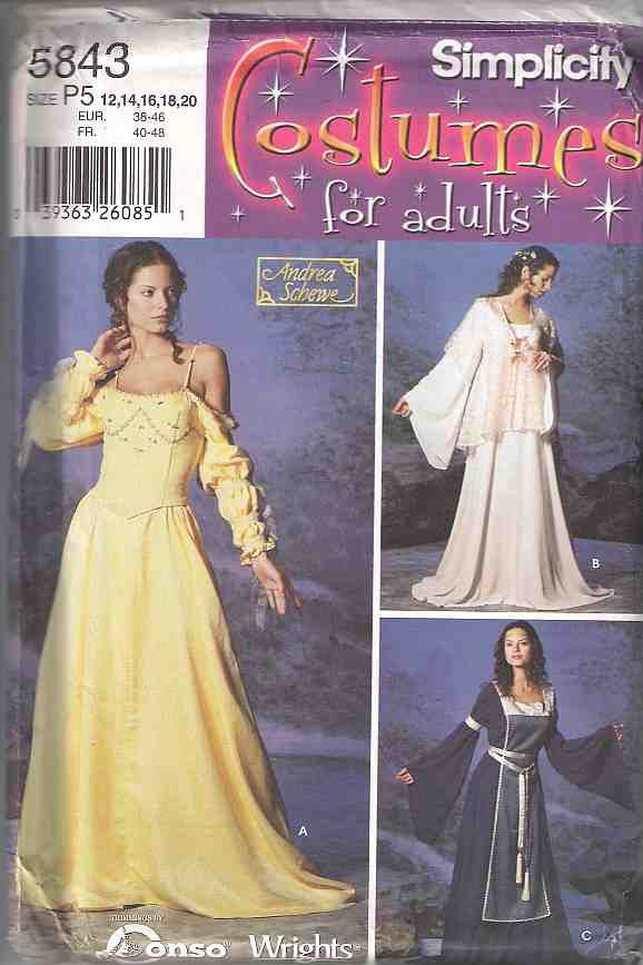 Medieval dress costume pattern, adult princess costume pattern ...