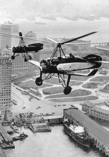 Early autogiros flying over the Battery, lower Manhattan, 1930 (The New York Times Archives)