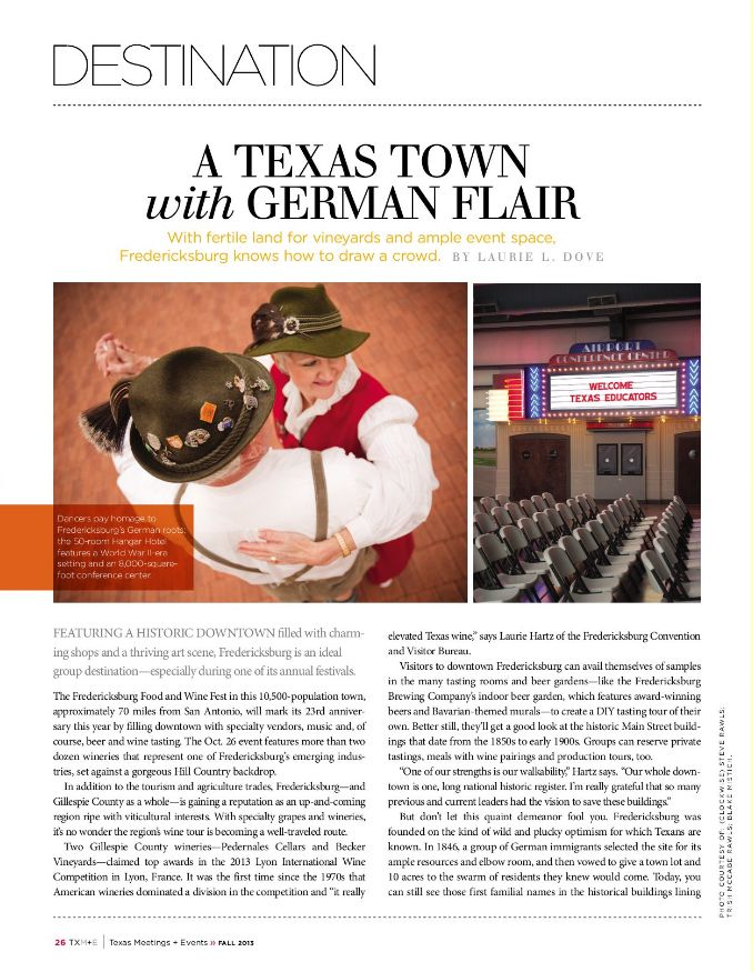 A Texas Town with German Flair, Texas Meetings and Events magazine, Fall 2013 issue, pp. 26-29