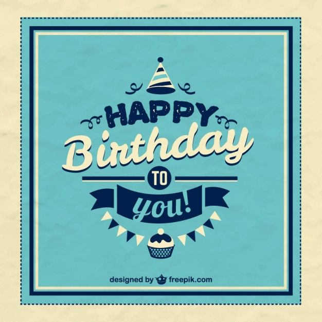 Retro happy birthday card Free Vector Happy Birthday – Vintage Birthday Cards for Men