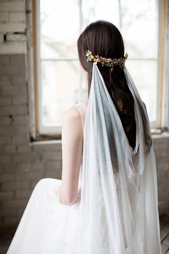 drapierte Schleier, Seide Schleier, Elfenbein Böhmische Hochzeitsschleier, Seide drapierten Schleier, böhmische Schleier, drapierte Brautschleier, Seide Hochzeitsschleier - MARIA #bridalshops