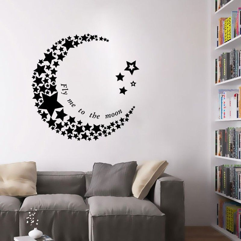 crescent moon star living room bedroom pvc art vinyl mural removable wallpaper wall stickers. Black Bedroom Furniture Sets. Home Design Ideas