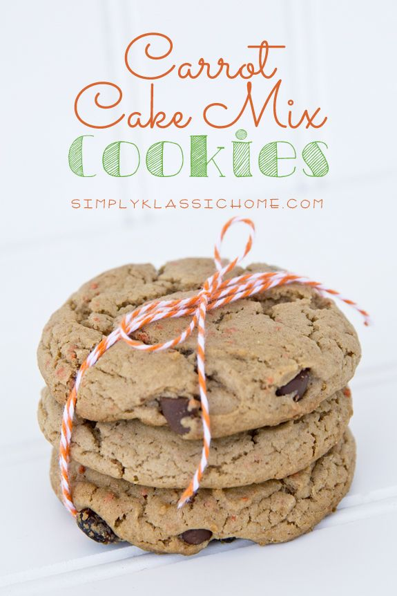 Soft and chewy cookies made from carrot cake mix! Just three ingredients ~ so easy! yellowblissroad.com