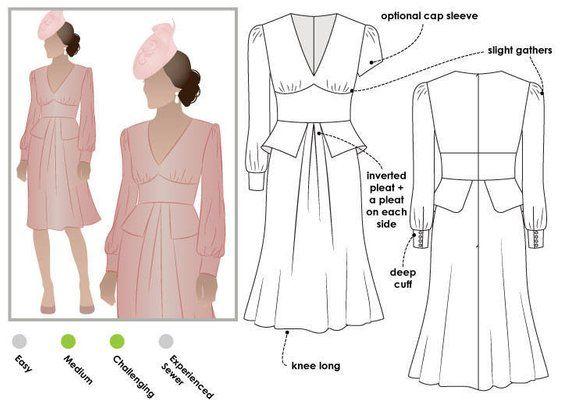 c202d2248e Style Arc Sewing Pattern - Peony Woven Dress - Sizes 10, 12, 14 - Dress PDF Sewing  Pattern