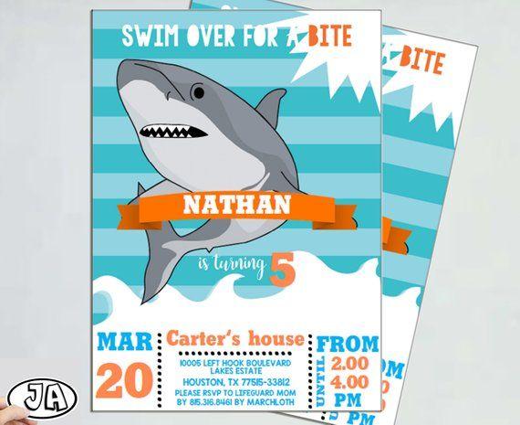 shark invitation shark attack sharktastic shark birthday party