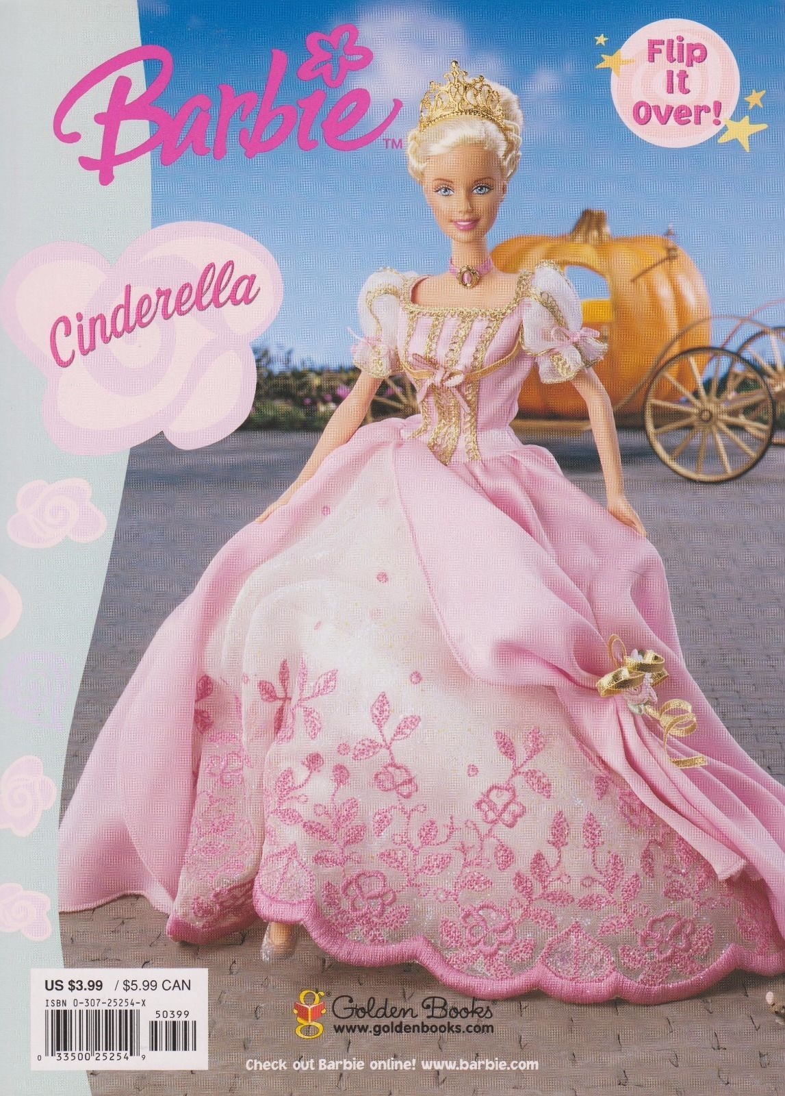 2000 Barbie FairyTale Princesses By Golden Books Flip It Over Coloring Book Cinderella
