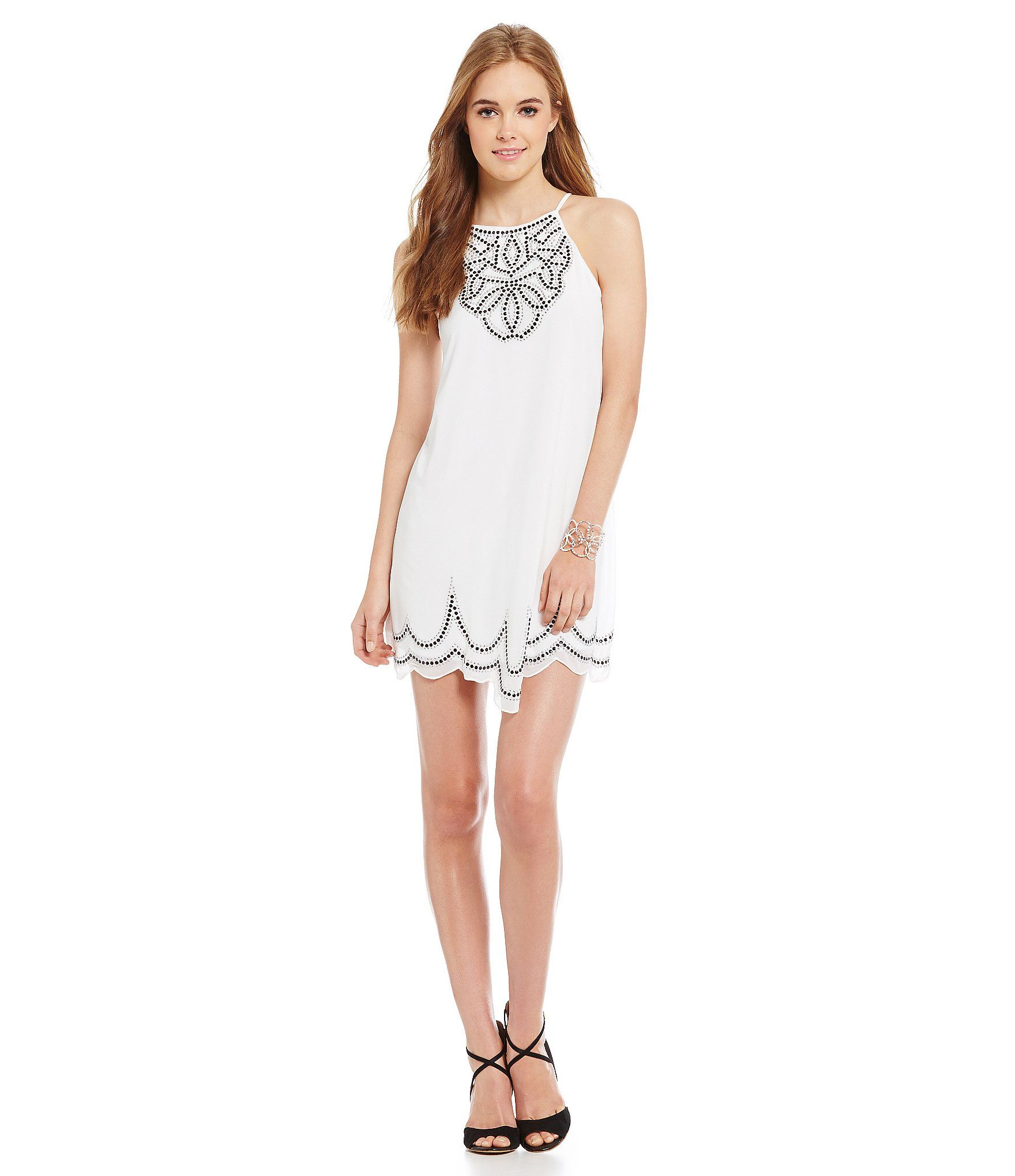 Midnight Doll Tie Neck Halter Trapeze Dress | Dillards ...