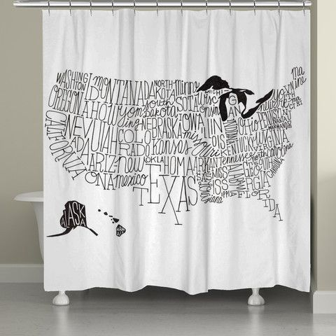 Hand Lettered Us Map Black And White Shower Curtain Laural Home