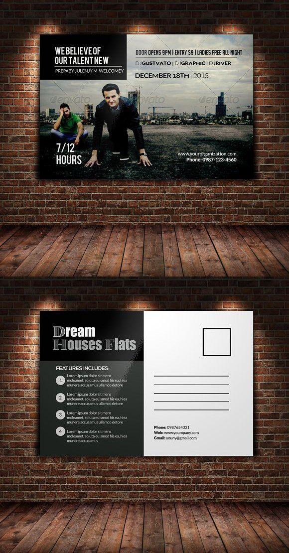 professional postcard template invitation templates 6 00