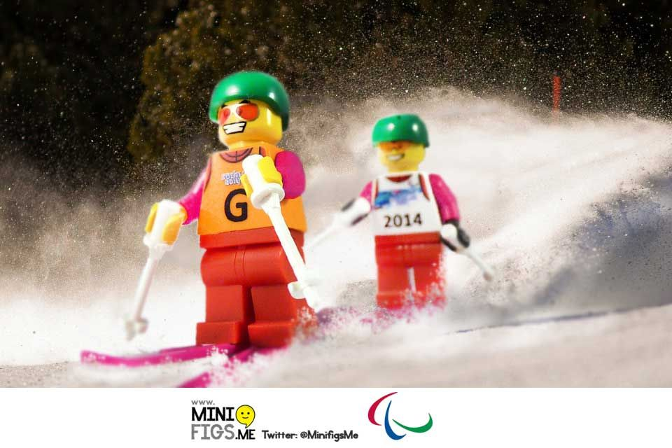 Lego skiing winter paralympic minifig sochi with guide