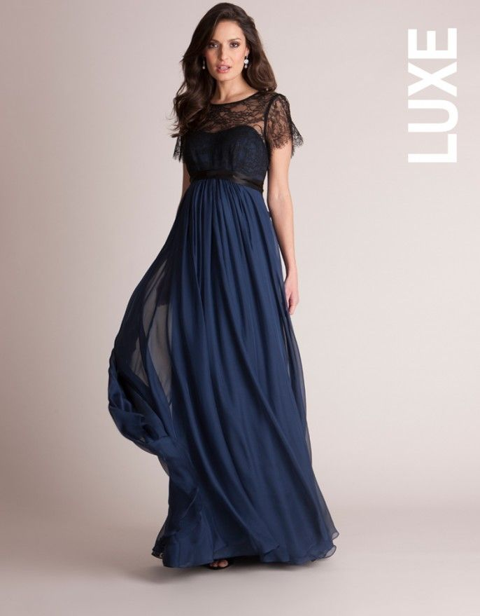 c7020dbafc4 Navy Silk and Lace Maternity Evening Gown