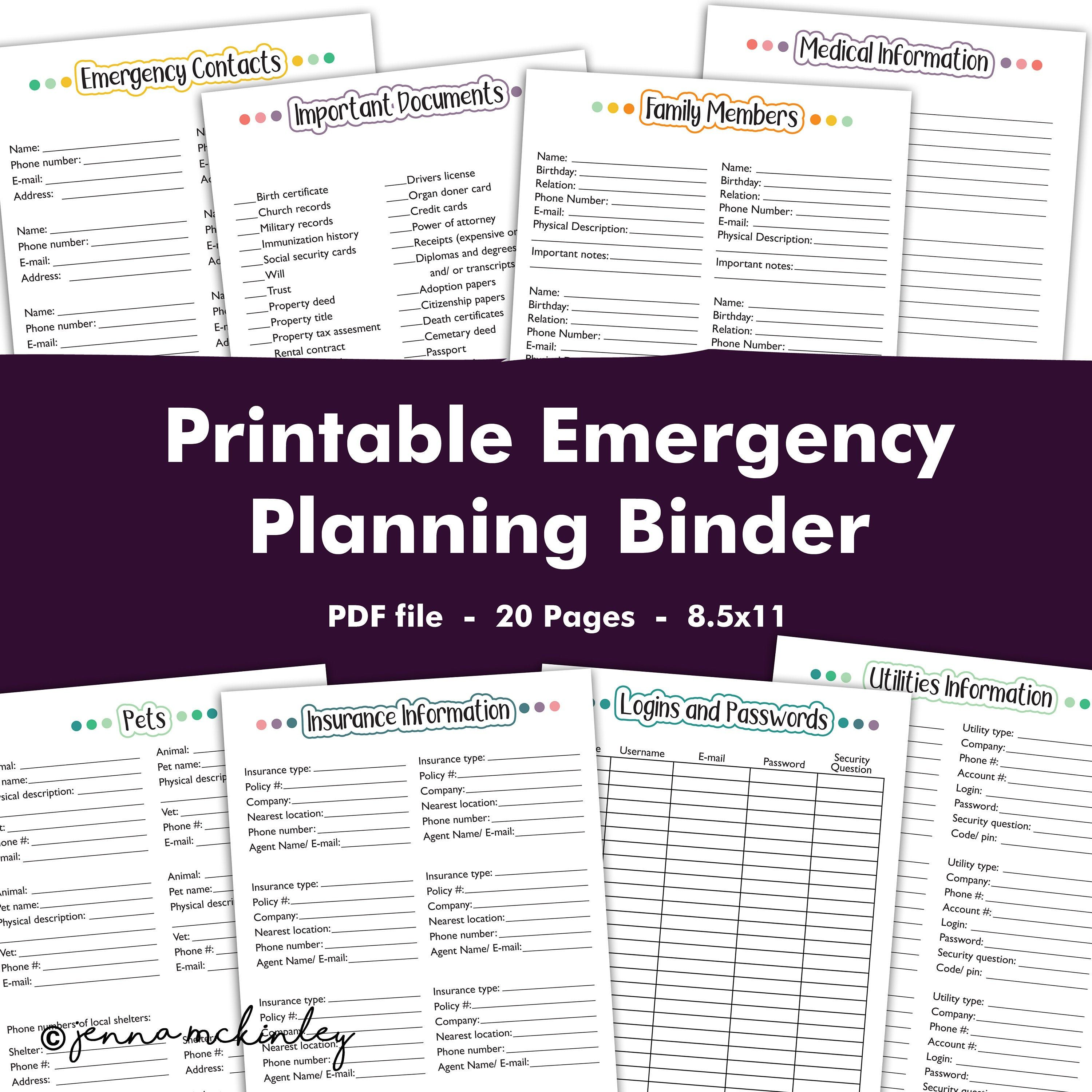 Printable Emergency Preparedness Planning Binder Disaster