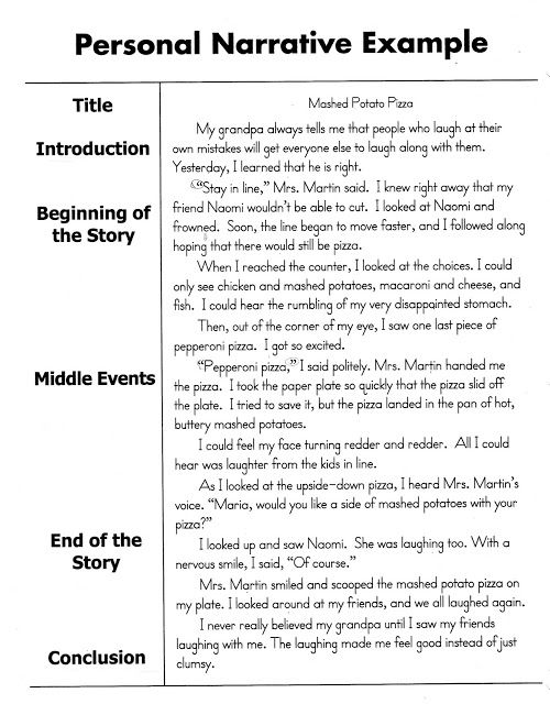 Personal Narrative Essay Sample  Personal Narratives