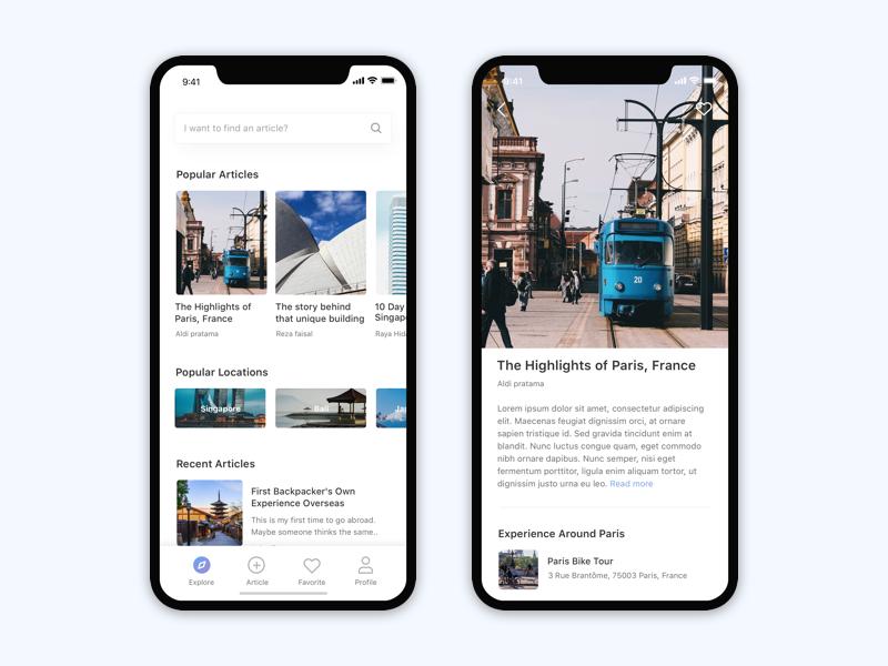 Travel Blog | Travel | Booking | Activity | News | Ios design