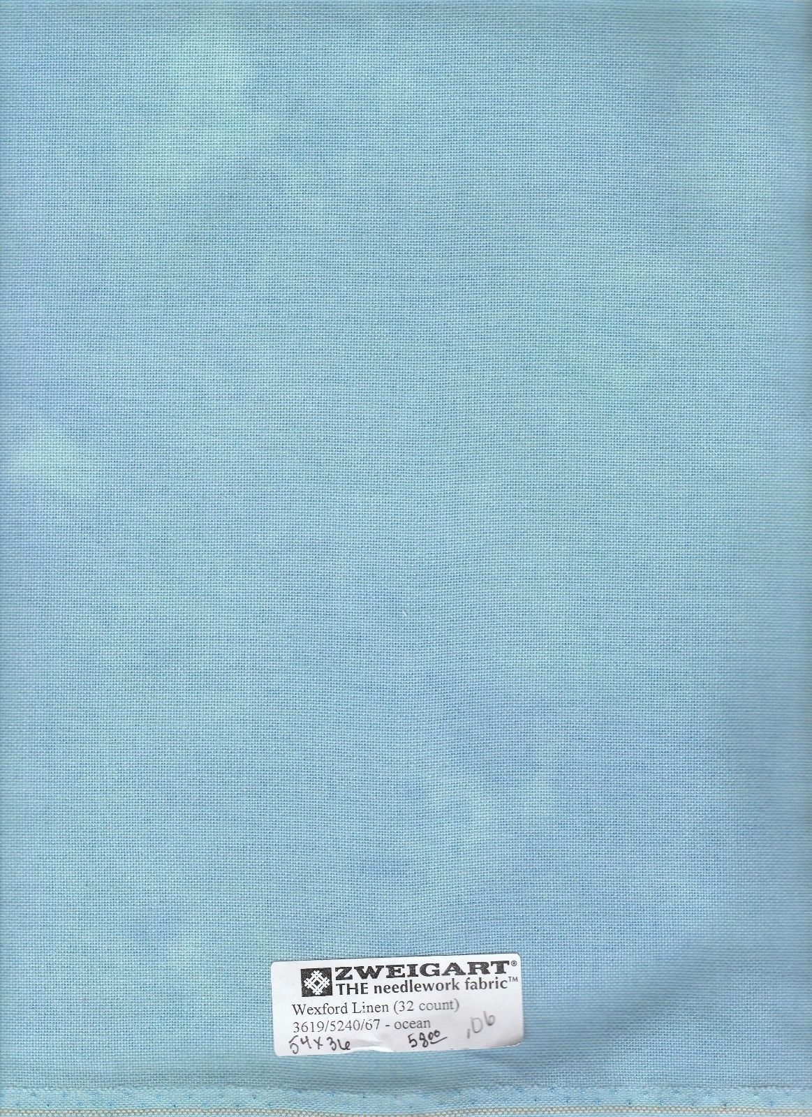 Embroidery Cloth Fabric 183196 Zweigart Wexford Linen 32 Ct Ocean