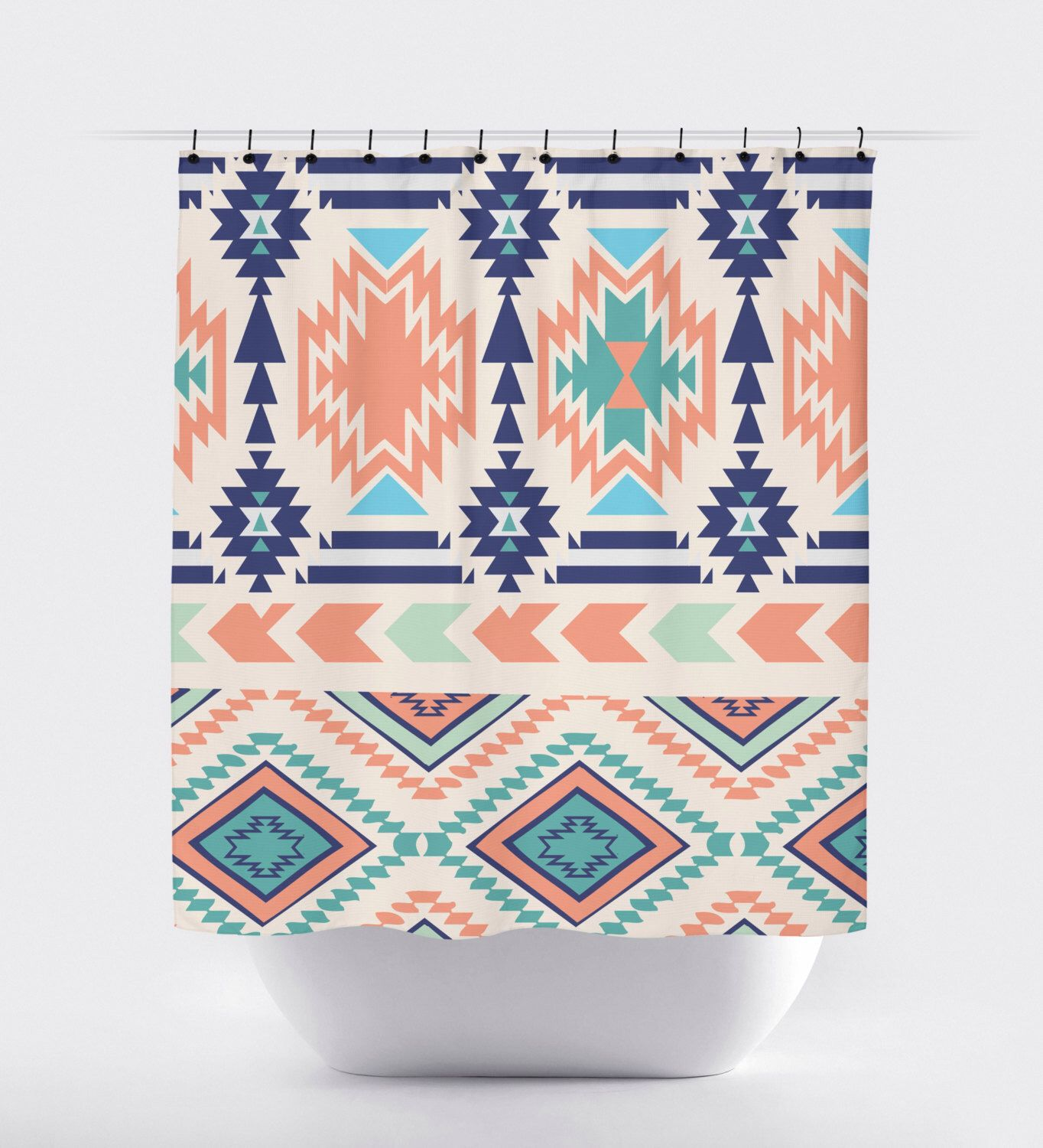 Coral Turquoise And Blue Aztec Fabric Shower Curtain High Quality