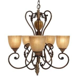 Hampton bay chateau deville 5 light walnut chandelier with hampton bay chateau deville 5 light walnut chandelier with champagne glass shades aloadofball Choice Image