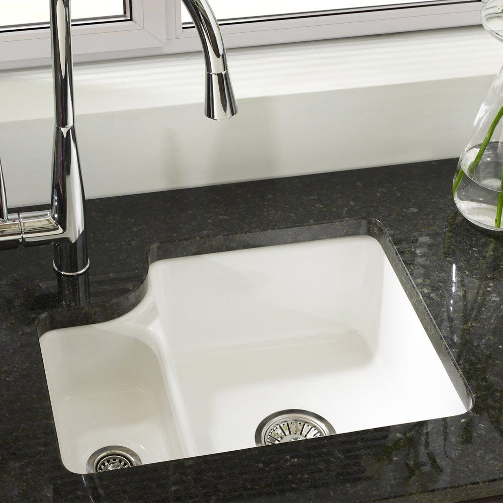 White Undermount Kitchen Sink astracast lincoln 1.5 bowl gloss white ceramic undermount kitchen