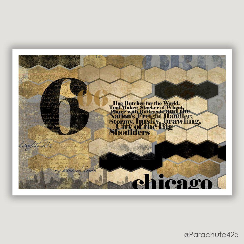 Chicago Art Print, Carl Sandburg Quote, Chicago Poem, Chicago Wall Art,  Black